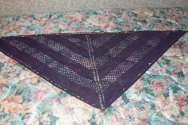 Starry Night Shawl Blocking