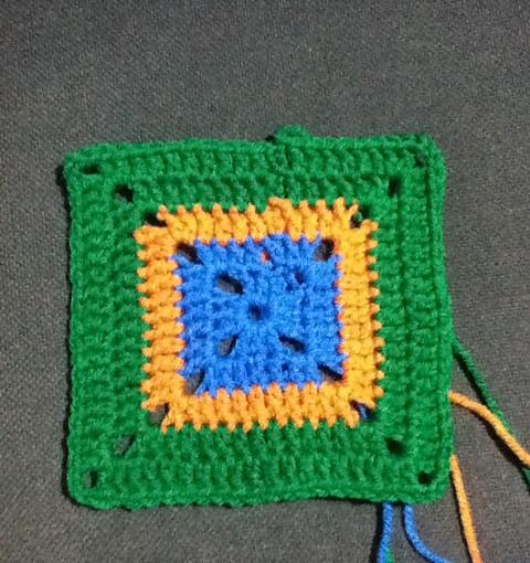 Green, Orange & Blue Granny Square