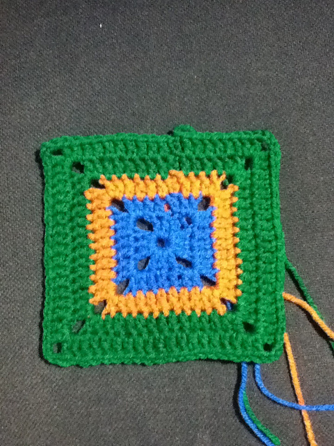 Green, Orange & Blue Granny Square