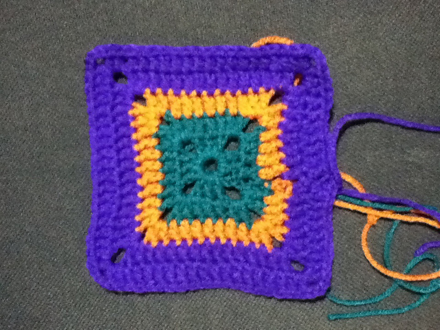 Purple, Orange & Teal Granny Square