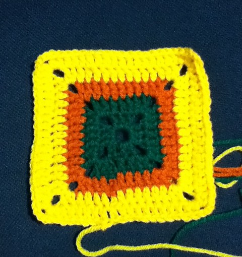 Yellow, Orange & Green Granny Square