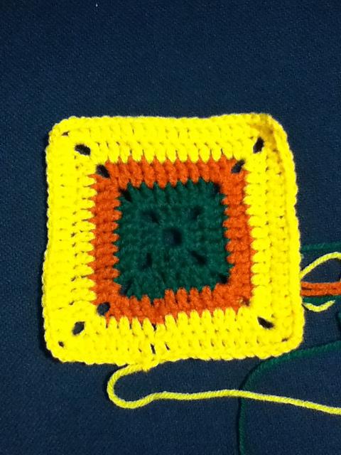 Yellow, Orange & Green Granny Square