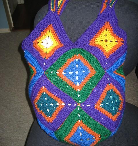 Crocheted Granny Square Bag - Sitting