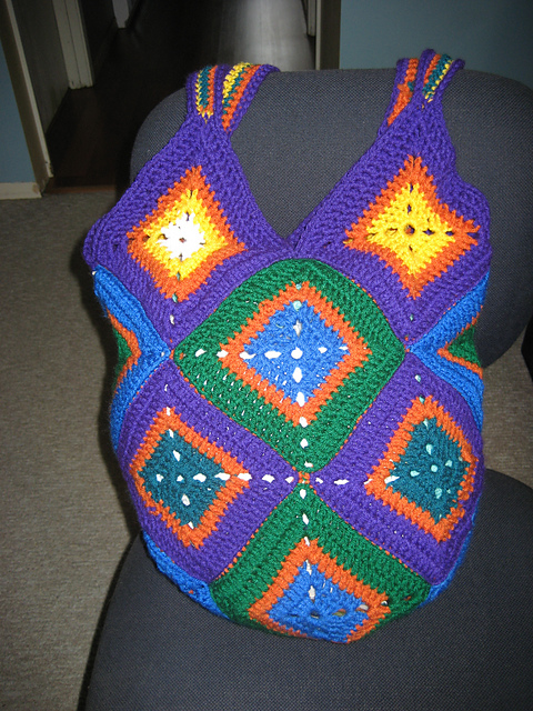 Crocheted Granny Square Bag - Sitting