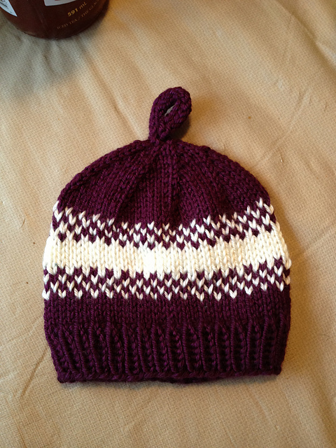 Purple & White Pear Baby Hat