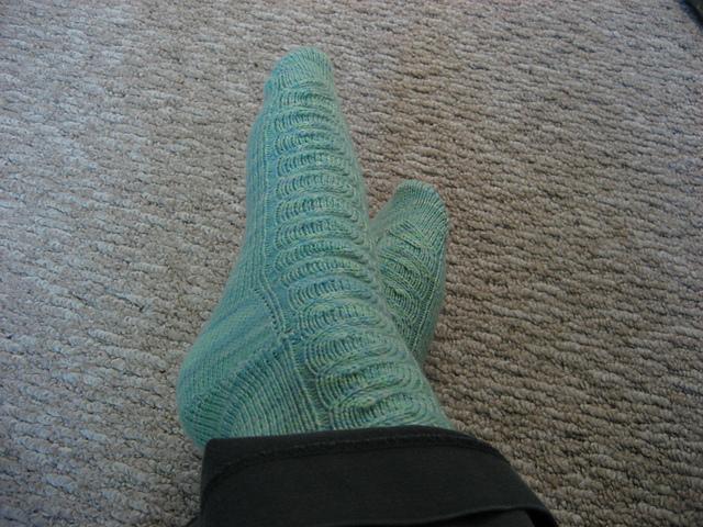 Tadpole Socks Modelled