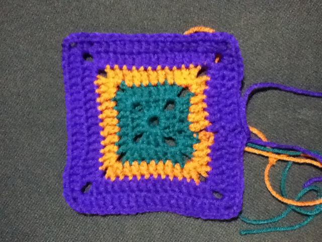 Purple, Orange & Teal Granny Square