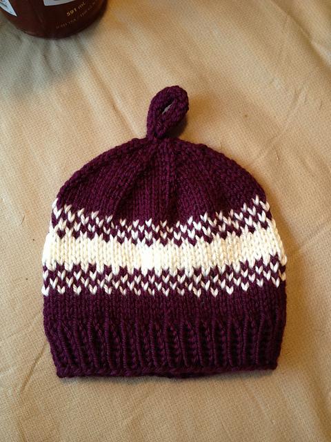 Purple & White Pear Baby Hat